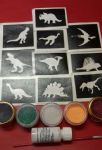 Dinosaur themed boys glitter tattoo set including 30 stencils + 5 glitter colours + glue